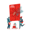 small people carrying and dragging big red gift vector image vector image