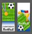 soccer stylized banners with ball and football vector image