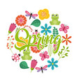 spring calligraphic text with flower animals vector image