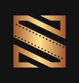 square initial movie logo concept vector image vector image