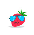 strawberry face cartoon with emotion sunglasses vector image vector image