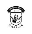 swordsman warrior logo vector image vector image