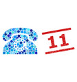 textured 11 stamp imitation and pulse phone vector image vector image