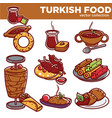 turkish food cuisine dishes icons vector image vector image