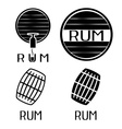 vintage labels set with barrels of rum vector image