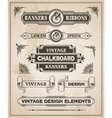 Vintage retro banner and ribbon set