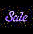 violet text sale lettering on black background vector image vector image