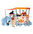 woman buying ice cream on street in kiosk vector image