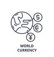 world currency line icon concept world currency vector image vector image