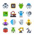robot icons set logo robotic machine vector image