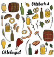oktoberfest doodle set vector image