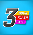 3 hour flash sale banner special offer big sale vector image vector image