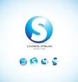 Alphabet letter s sphere logo icon set vector image vector image