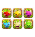 app icons wth cute cartoon plant monsters vector image vector image