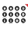 Beer and beverage icons on white background vector image vector image