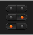 black 3d buttons pushed and normal vector image vector image