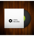 Black vintage vinyl record with blank cover case vector image vector image