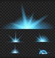 blue glowing lights on black transparent vector image
