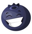 blueberry laughing on white background vector image vector image