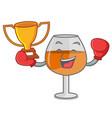 boxing winner cognac ballon glass mascot cartoon vector image vector image