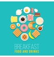 breakfast concept food and drinks with flat vector image vector image