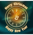 Christmas and happy new year clock vector image