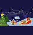 christmas fir tree with decoration on dark snowy vector image