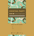 cocktail party vertical invitation card vector image vector image