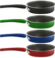 Colourful frying pans vector image