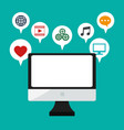 computer monitor social media bubbles icons vector image vector image