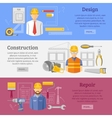 Construction works concept horizontal banners set vector image vector image