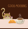 cute adorable cat coffee croissant vector image vector image