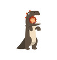 cute girl wearing dragon costume kid dressed for vector image vector image