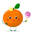 cute orange cartoon character with crown holds a vector image
