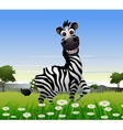 cute zebra cartoon with nature background vector image vector image