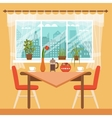 Dining table with chairs and coffee cups vector image vector image
