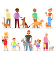 dog-breeding people with pet and woman or vector image vector image