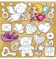doodle Valentine's day set vector image vector image