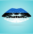 estonia flag lipstick on the lips isolated on a vector image vector image