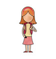 funny character girl student school people vector image vector image
