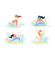 girls in sports wear engage fitness or yoga set vector image
