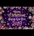 gold merry christmas and happy new year 2019 vector image vector image