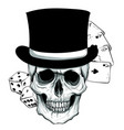 gothic coat of arms with skull and playing card vector image vector image