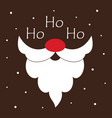 greeting card with santa beard and text ho ho ho vector image