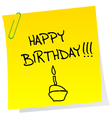 Happy birthday announcement on a sheet of paper vector image vector image