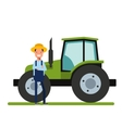 Happy Farmer standing next to the new tractor vector image