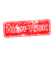 high risk red grunge rubber stamp vector image vector image