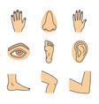 human body parts color icons set