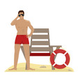 lifeguard with binoculars lifeguard chair vector image vector image