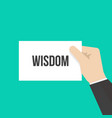 man showing paper wisdom text vector image